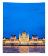 Hungarian Parliament Building At Dusk Fleece Blanket