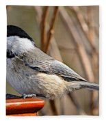 Hungry Chickadee  Fleece Blanket