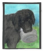 Hungry Newfoundland Dog Canine Animal Pets Art Fleece Blanket