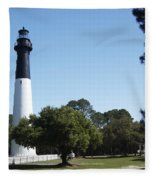 Hunting Island Lighthouse Sc Fleece Blanket