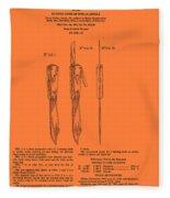 Hunting Knife Patent Fleece Blanket