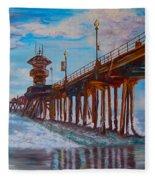 Huntington Beach Pier 2 Fleece Blanket