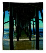 Huntington Beach Pier Fleece Blanket