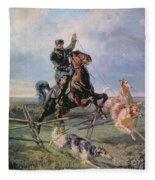 Huntsman With The Borzois Fleece Blanket