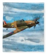 Hurricane Fighter Watercolour Fleece Blanket