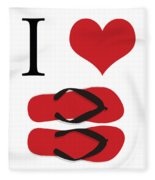 I Love Flip Flops Fleece Blanket