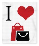 I Love Shopping Fleece Blanket
