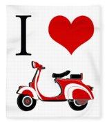 I Love Vespa Fleece Blanket