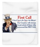 I Need You In The Navy - Uncle Sam Wwi Fleece Blanket