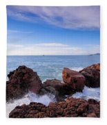 Ibiza Coastline Fleece Blanket