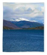 Ice Capped Mountains At Ullapool Fleece Blanket