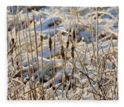 Ice Coated Bullrushes Fleece Blanket