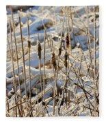 Ice Coated Bullrushes Fleece Blanket