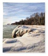 Ice Covered Shores Of Lake Michigan Fleece Blanket