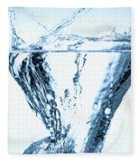 Ice Cube Splashing Into Water Fleece Blanket