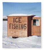 Ice Fishing Hut Fleece Blanket
