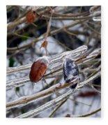 Ice Incased Leaves Fleece Blanket