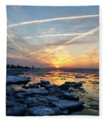 Ice On The Delaware River Fleece Blanket