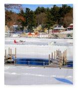 Planes On The Ice Runway In New Hampshire Fleece Blanket