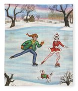 Ice Skaters Fleece Blanket