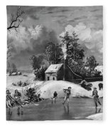 Ice Skating, 1880 Fleece Blanket