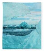 Icebergs On The Southern Beach Fleece Blanket