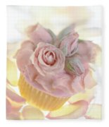 Iced Cup Cake With Sugared Pink Roses Fleece Blanket