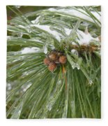 Iced Over Pine Cones Fleece Blanket