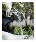 Icicles On Juniper Branch Fleece Blanket