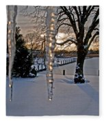 Icicles On The Canal Fleece Blanket