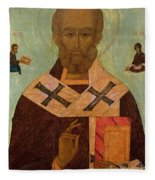 Icon Of St. Nicholas Fleece Blanket