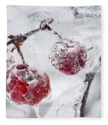 Icy Branch With Crab Apples Fleece Blanket