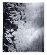 Icy Cliff - Black And White Fleece Blanket