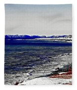 Icy Cold Seascape Digital Painting Fleece Blanket