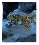 Icy Evergreen Reflection Fleece Blanket