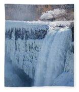 Icy Niagara Falls Fleece Blanket