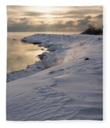 Icy Patterns On The Snow - A Lake Shore Morning Fleece Blanket