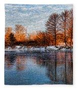 Icy Reflections At Sunrise - Lake Ontario Impressions Fleece Blanket