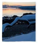 Icy Snowy Winter Sunrise On The Lake Fleece Blanket