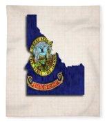 Idaho Map Art With Flag Design Fleece Blanket