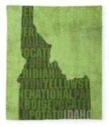 Idaho State Word Art Map On Canvas Fleece Blanket