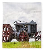 Idle Fordson Tractor On The Hill Fleece Blanket