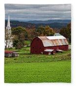 Idyllic Vermont Small Town Fleece Blanket