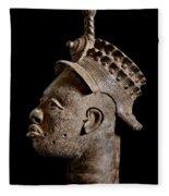 Ife Bronze Royal Head Portrait Fleece Blanket