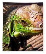 Iguana On The Deck At Mammacitas Fleece Blanket