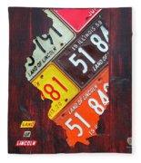 Illinois License Plate Map Fleece Blanket