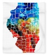 Illinois - Map Counties By Sharon Cummings Fleece Blanket