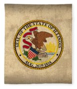 Illinois State Flag Art On Worn Canvas Fleece Blanket