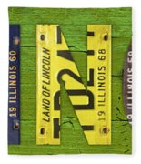 Illinois State Name License Plate Art Fleece Blanket