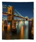 Illuminated Brooklyn Bridge By Night Fleece Blanket